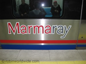 Side of a carriage on the Marmaray line.