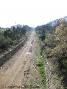 The line of the railway west of Kazlicesme, before the new track is laid.