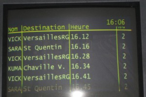 This is an example of the departure screen on RER Line C and shows the 4-letter codes mentioned earlier.