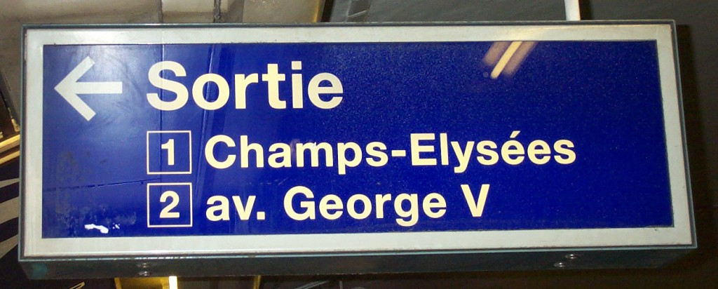 This is an example of the kind of exit sign you would find on the metro in Paris. This particular one, rather helpfully, is located on the platform so the passenger would know exactly which exit to head for right from the train. They're not always as helpful as that. Sometimes being located only at the circulating area which may be too late as an alternative route from the platform may have been more desirable.