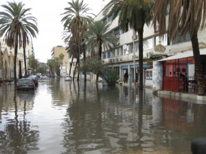 Tunis city street flooded after the previous night storms