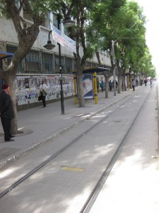 A view of the same stop with the street in perspective
