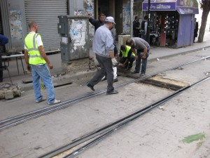 Tunis-workmen-changing-point-motor-inspecting